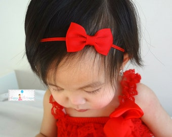 Christmas Red Bow Headband, Petite Red Bow Headband, Baby red bow, Baby headband,Baby girls headband,Girl's valentine,Christmas headband