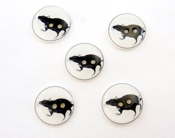 "Rat Sewing Buttons.  Handmade Buttons. 5 Buttons.  3/4"" or 20 mm size."