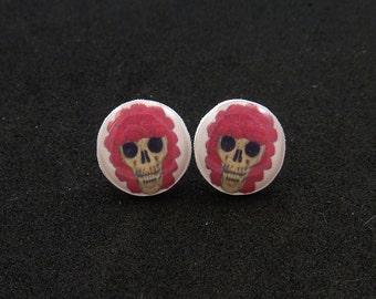 Skull Earrings.  Resin Post Skull Earrings. Human Skull with red rose hair earrings.