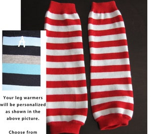 RED WHITE STRIPES baby leg warmers.  Great for babies, toddlers, and young kids