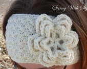 Crochet earwarmer headband with flower toddler to adult