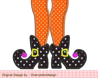 Halloween Witch Feet Machine Embroidery Applique Design - for 4x4 5x7 6x10 hoop