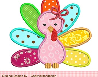 Thanksgiving Girly Turkey Applique -4x4 5x7 6x10 Machine Embroidery Applique Design