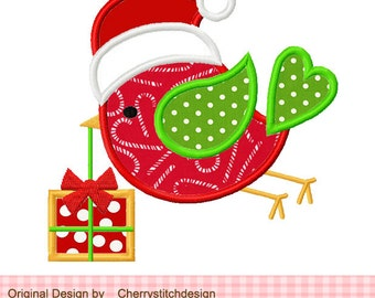 "Christmas Bird Christmas Machine Embroidery Applique - 4x4 5x5 6x6"""