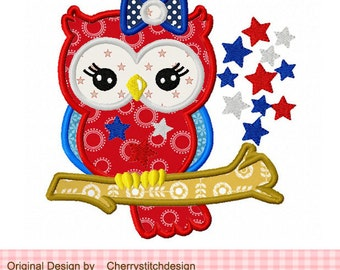 4th of July owl Patriotic owl Machine Embroidery Applique Design - 4x4 5x5 6x6 inch-