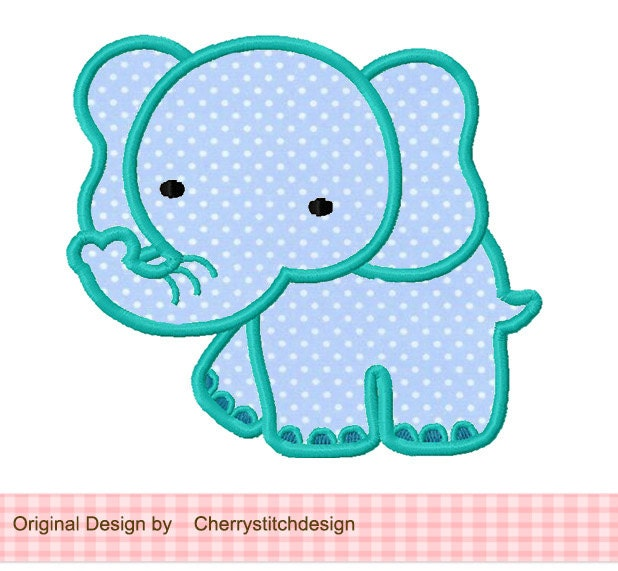 Elephant animal machine embroidery applique design