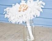 Feather Bouquet - White / Ivory Peacock Feather Bouquet, Elegant Fabric Flower, Bridal Parties, Large Bouquet