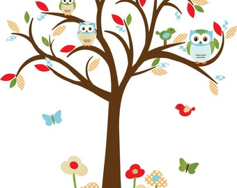 Owl decal, Nursery Decal, Childrens wall Decal, Owl tree wall sticker, owl wall decal, nursery owl decor, Summertime Design
