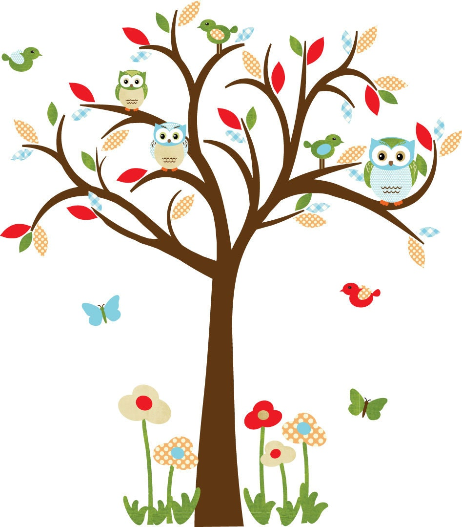 owl decal nursery decal childrens wall decal owl tree wall