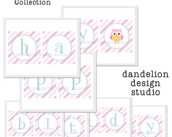 PRINTABLE Happy Birthday Banner - Owl Party Collection - Dandelion Design Studio