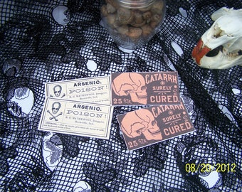 Vintage Poison Apothecary Labels