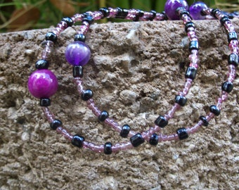 Black and Purple beaded Amethyst Necklaces or Double Wrap Bracelets