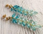 Modern Kitschy Wheat Harvest Earrings Blue & Gold Ombré Beaded Studs
