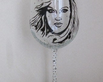 Hand Painted Wine Glass - CARRIE UNDERWOOD - Singer, Song Writer, Actress