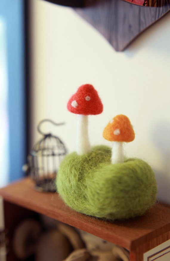 Needle Felted Mushroom on the Grassland Handmade - Baby Toy - Home Decor