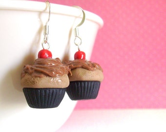 Handmade Miniature Cupcake Polymer Clay Earrings with Chocolate Frosting, Kawaii Fairy Kei Polymer Clay Jewelry, Gifts For Girls