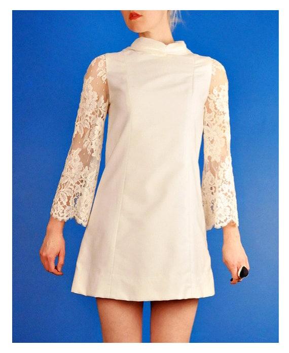 Vintage 1960s Wedding Dresses: Vintage 60s Mod Mini Wedding Dress Mid-Century Modern Go-Go