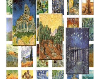 99 Cent Sale - Vincent Van Gogh Paintings - Digital Collage Sheet - 1 x 2 inch Domino - INSTANT DOWNLOAD