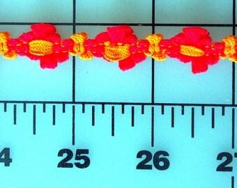 Pretty Knit Braid Trim, Five Eighths Inch Wide in Bright Neon Rose & Orange, Pretty Fun Costume, Upholstery, Craft Trim, Braid Trim