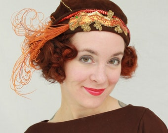 Custom Order: Fire-Breathing Dragon Cloche Hat with Curled Feathers & Hand-Beaded Dragon Applique 1920s Flapper Style