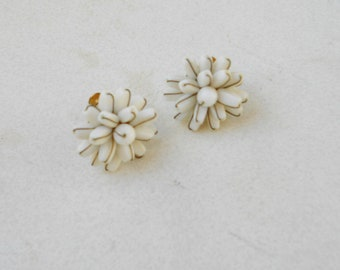 Vintage Cluster earrings 1940s white milk glass and brass screw back earrings