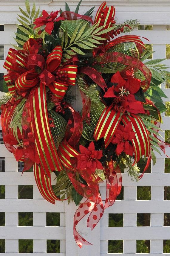 Wreaths for christmas door wreath full of deco mesh ribbons for Front door xmas wreaths