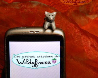 Kawaii kitty - smartphone dust plug - iphone Earphone Plug - handmade