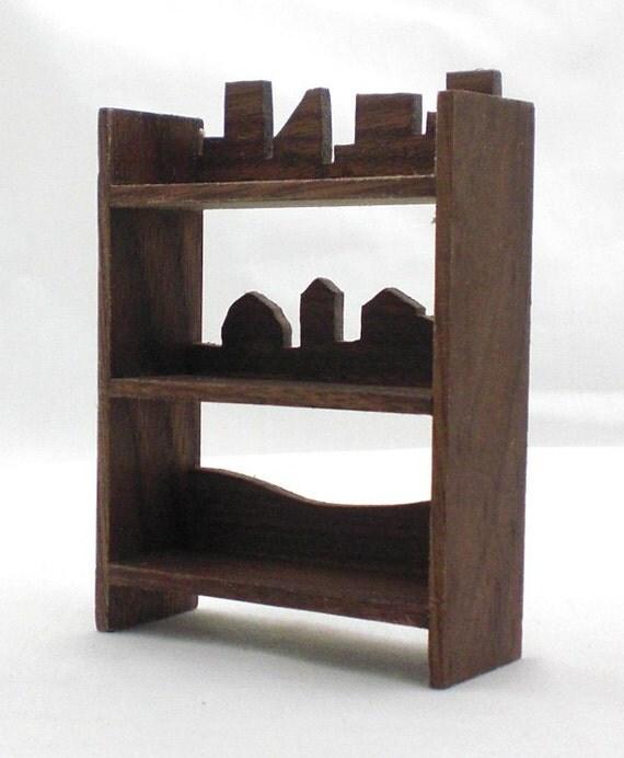 Miniature Walnut Shelves - Silhouette Country Farm City, Wood Shelf, Mini Furniture, Miniature Furniture, Mini Shelves, Dollhouse Miniature