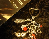 50 Shades of Grey Inspired Laters Baby Charm Bottle cap Heart Key chain Epoxy 3D Resin With red GlitterRhinestone Gorgeous