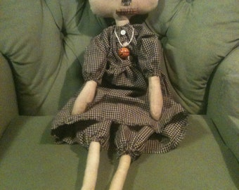 Primitive Annie Doll Wearing a Handmade Dress from Homespun Fabric