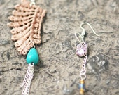CLEARANCE Mismatched lace earrings - Vintage taupe wing guipure lace, drop turquoise, owl charm, silver toned chain and hooks  - Eco-friendl