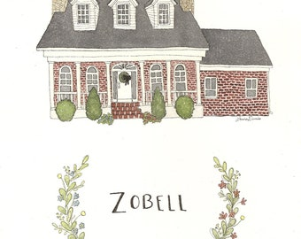 Custom House Portrait for Zobells-- RESERVED