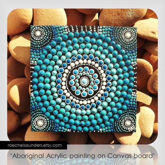 Dot Painting Aboriginal Art Small Original Water Art Painting