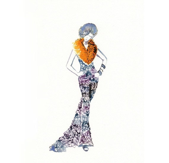 Items similar to original watercolor fashion illustration purple