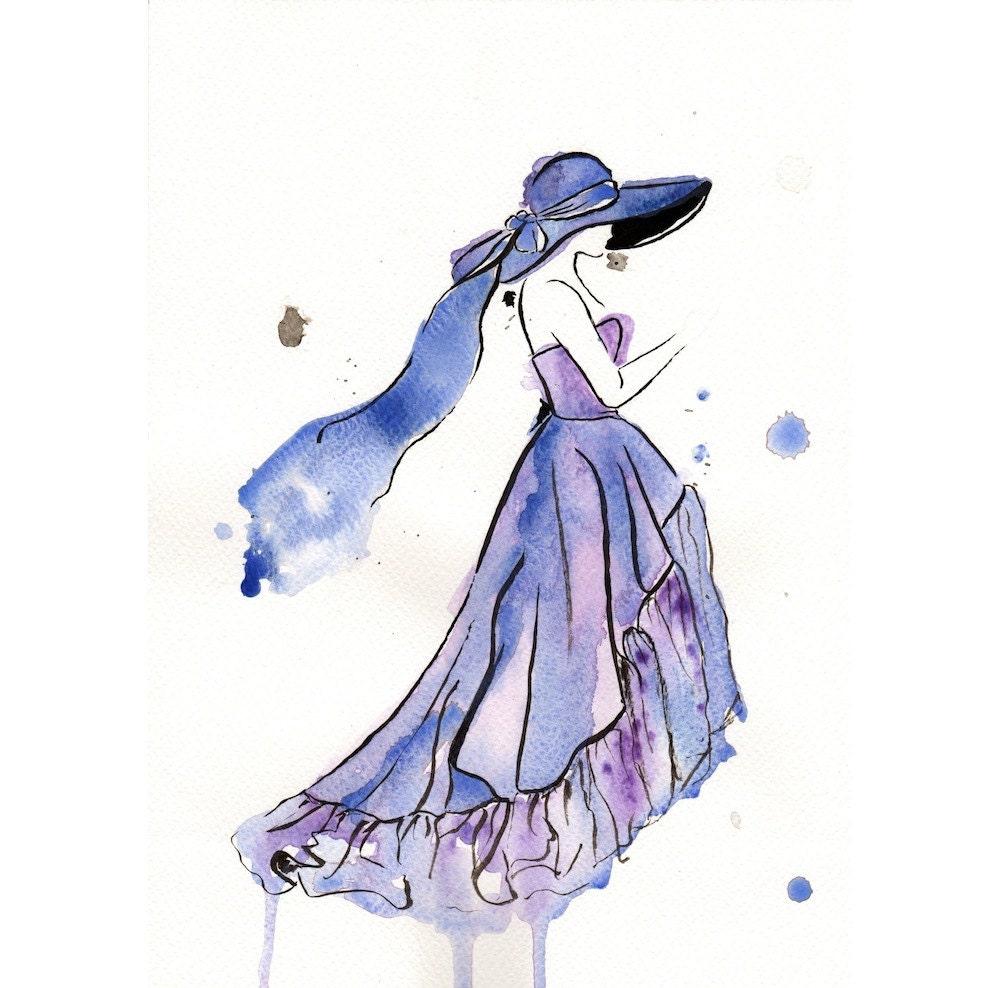 Items Similar To Original Watercolor Fashion Illustration