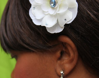 """Hair accessory, white flower with blue accents, """"Nina"""""""