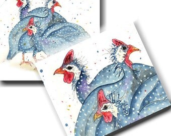 Guinea Fowl Cards - Pack of 6 - Barnyard Theme, Watercolour, Bird Notelets, Stationery, Blank inside
