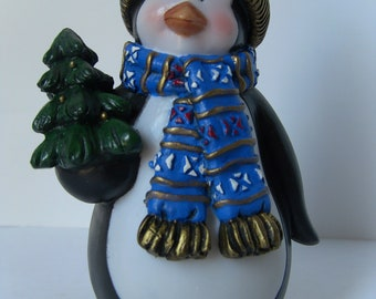 Hand Painted Penguin Holding a Christmas Tree