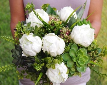 Bouquet of Silk Peonies and Succulents Off White Natural Touch Flower Wedding Bride Bouquet - Almost Fresh