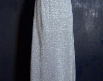 SALE Hand Fashioned in Italy 60/70s Metallic Silver Wool Knit Maxi Skirt
