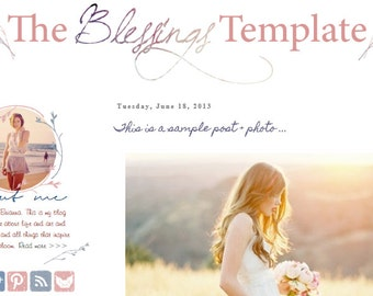 INSTANT DOWNLOAD - Premade Blogger Template - Blessings