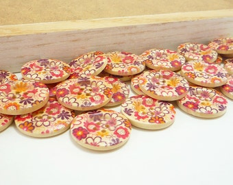 Wood Sewing Buttons, Retro, Flower Design (25mm 6pcs set)