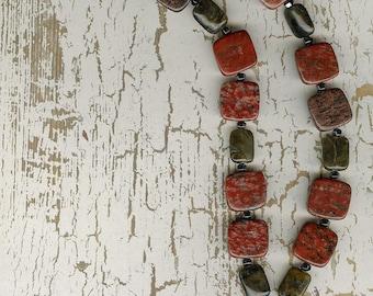 Succor Creek Jasper Pendant, Poppy Jasper, Labradorite, Hematite, Sterling Silver Necklace