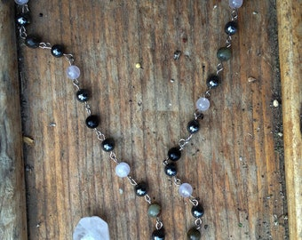 Rose quartz pagan rosary/witch's ladder/prayer beads