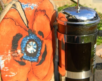 French Press Cozy - Keeps coffee hot even while it brews.  Fits an 8 cup or 12 cup french press.