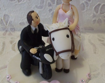 custom bride with horse and groom with motorbike personalized wedding cake topper
