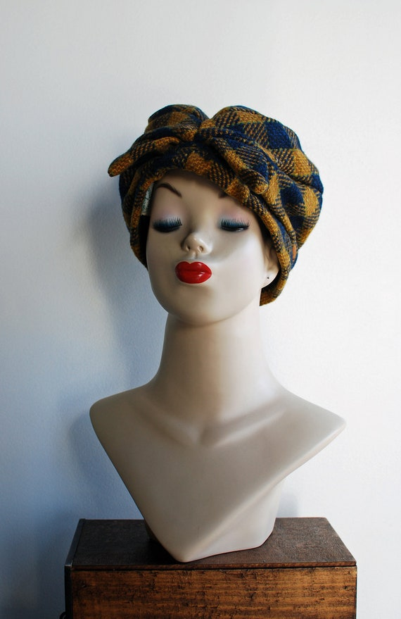 1960's Blue Mustard Yellow and Green Plaid Knotted Wool Turban Hat