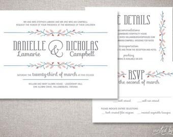 "Woodland Rustic ""Nicholas"" Personalized Wedding Invitation Suite - Whimsy Tree Branch Invitations - DIY Digital Printable or Printed Invite"