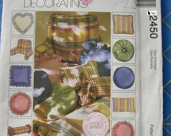 McCalls 2450 Home Decorating Sewing Pattern Several Styles Pillows Headrest