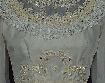 Vintage 1960s White Long Sleeve Prairie Wedding Dress